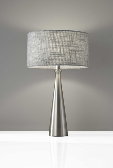 "13"" X 13"" X 21.5"" Brushed Steel Metal Table Lamp"