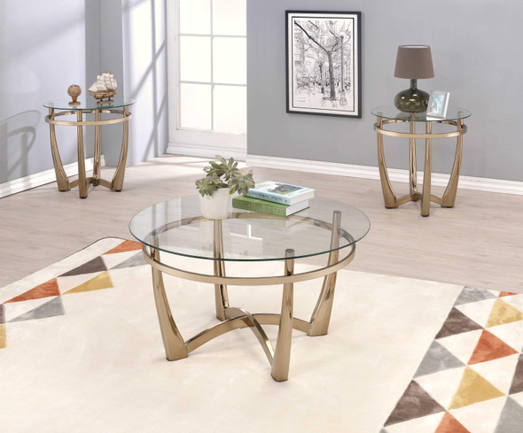 "25"" X 23"" Champagne And Clear Glass End Table"