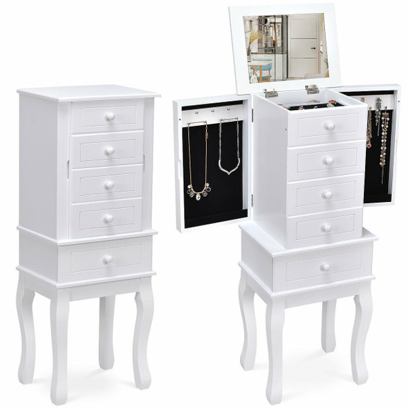 Wood Freestanding Armoire Storage Jewelry Cabinet