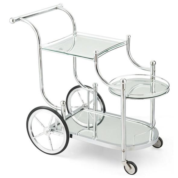 Kitchen Glass Shelves Metal Frame Serving Rolling Cart