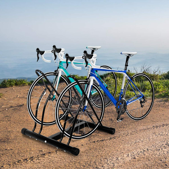 Bike Stand Cycling Rack Floor Storage Organizer for 2-Bicycle