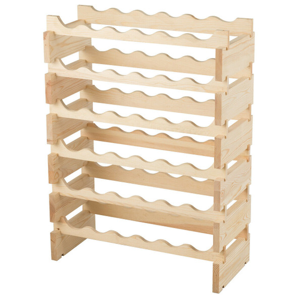 36 Bottles Stackable Wooden Wobble-Free Modular Wine Rack