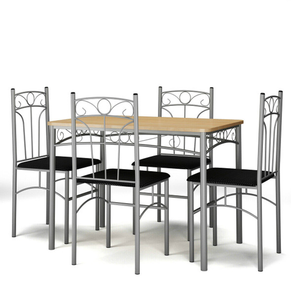 5 Piece Dining Set Table & 4 Chairs with Metal Legs