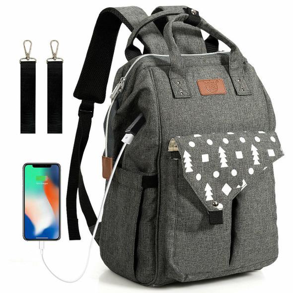 Waterproof Large Diaper Bag Backpack w/ USB Charging