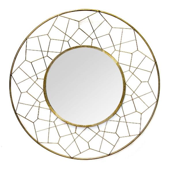 """35.63"""" X 2.17"""" X 35.63"""" Gold Metal Glass Mdf Mirror"""