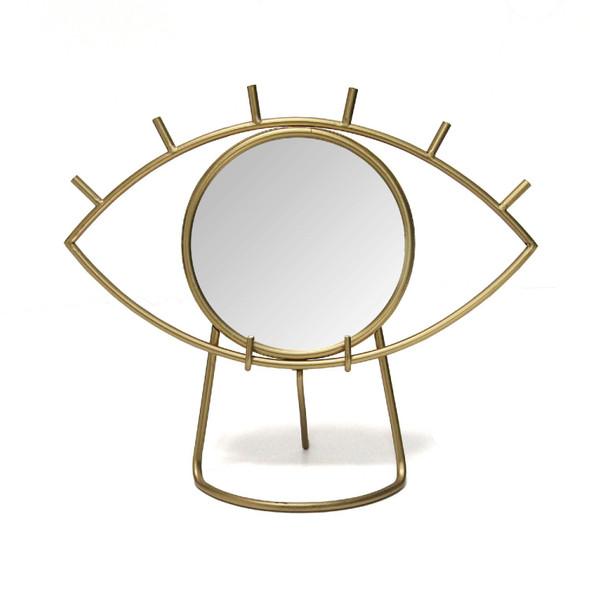 "14"" X 6"" X 11.5"" Gold Metal Mirror Eye Tabletop Mirror"