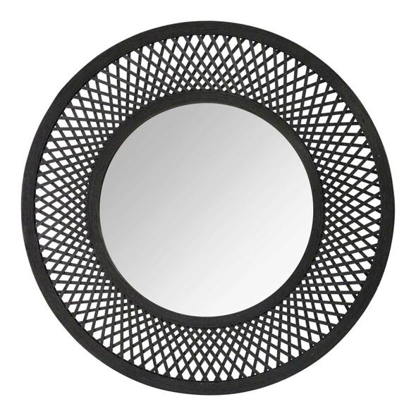 "38"" X 1"" X 38"" Black Bamboo Wood Glass Rattan Mirror"