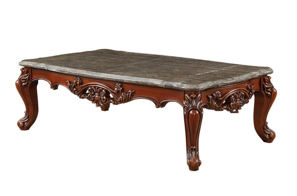 "36"" X 63"" X 20"" Marble Walnut Wood Coffee Table"