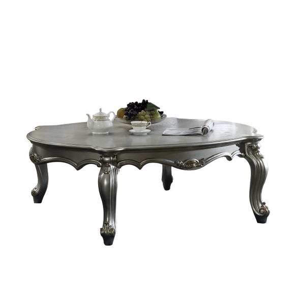 """47"""" X 54"""" X 20"""" Antique Platinum Wood Poly-Resin Coffee Table"""