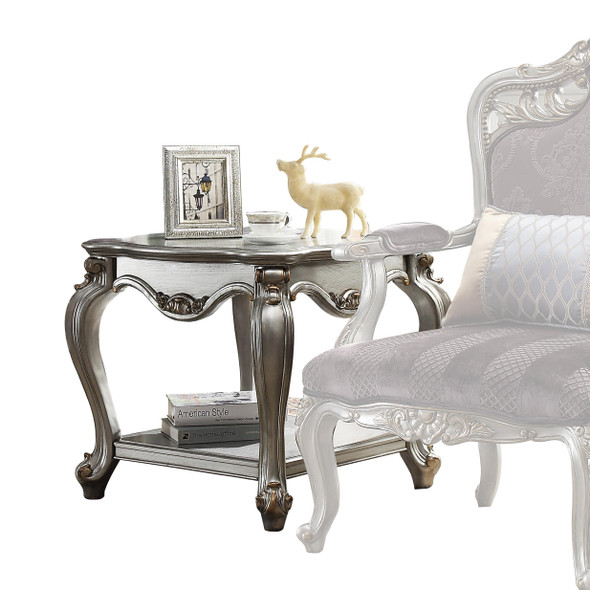 """27"""" X 27"""" X 24"""" Antique Platinum Wood Poly-Resin End Table"""