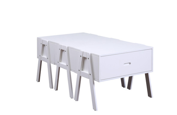 "25"" X 48"" X 20"" White Wood Veneer Coffee Table (Convertible)"