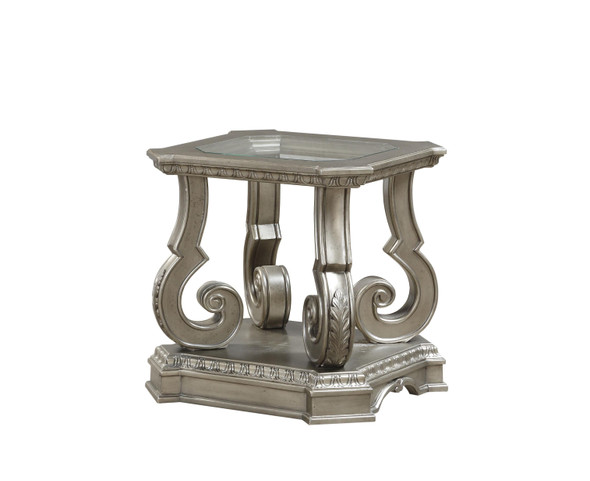 """24"""" X 26"""" X 25"""" Antique Champagne Clear Glass Wood Poly-Resin End Table"""