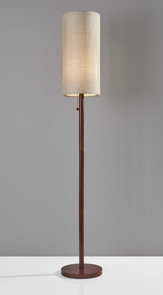 "10"" X 10"" X 65"" Walnut Wood Floor Lamp"