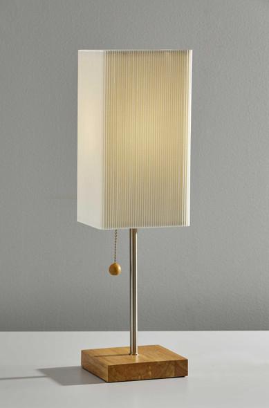 "5.25"" X 5.25"" X 19"" Natural Wood Table Lamp"