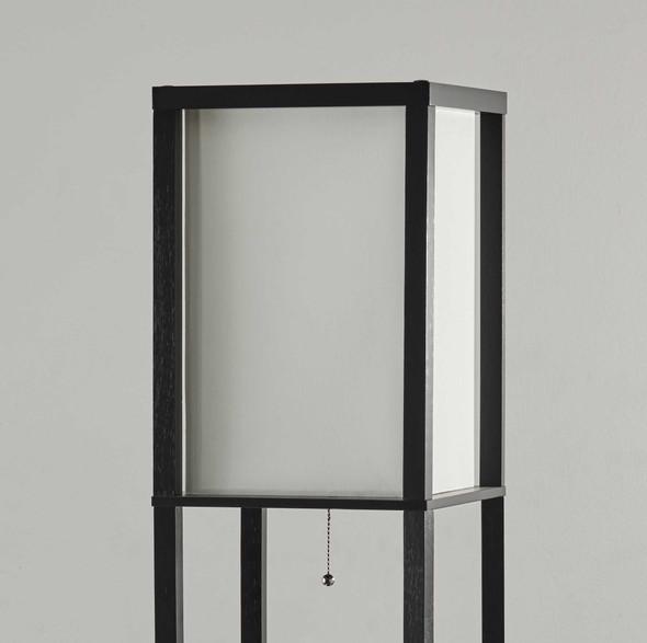 "10.5"" X 11.25"" X 72"" Black Wood Three Drawer Shelf Lamp"
