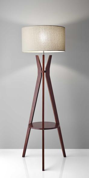 "20"" X 20"" X 59.5"" Walnut Wood Shelf Floor Lamp"