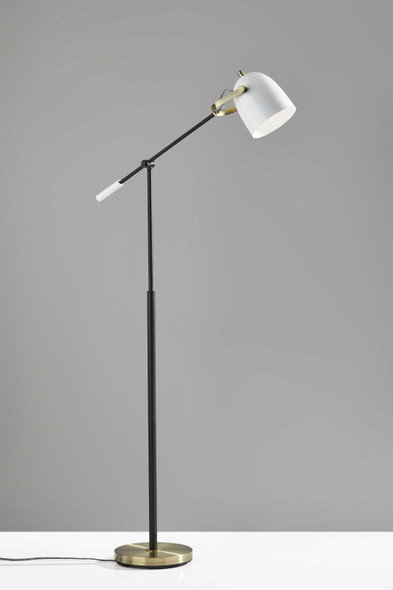 "10"" X 31"" X 52.5""-65"" White Metal Floor Lamp"