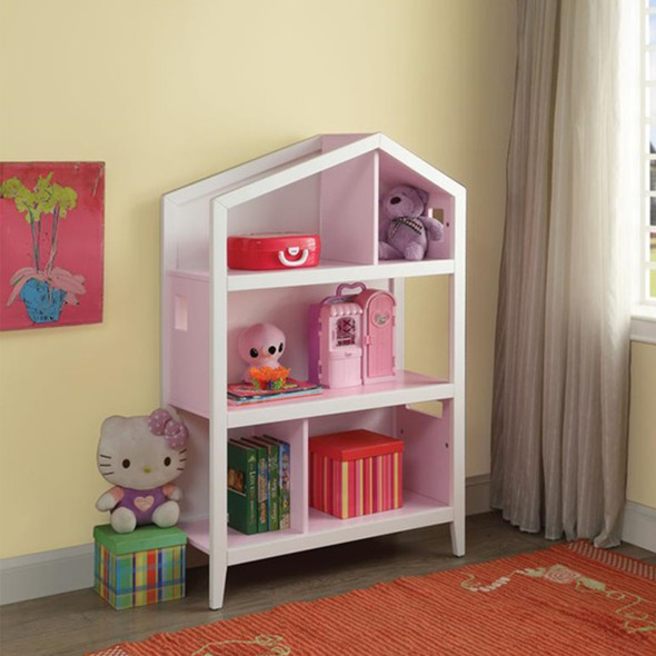 "14"" X 33"" X 50"" White Pink Wood Bookcase"