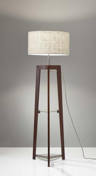 "19"" X 19"" X 60"" Walnut Rubber Wood Shelf Floor Lamp"