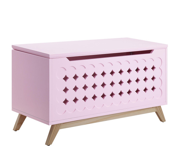 "16"" X 37"" X 21"" Pink Natural Wood Youth Chest"