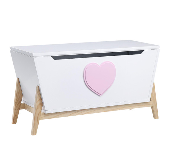 "16"" X 37"" X 20"" White Pink Wood Youth Chest"