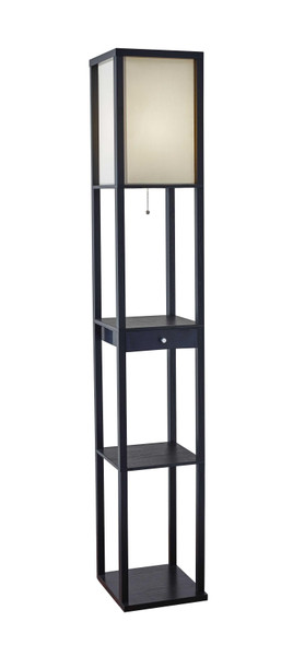 "10.25"" X 10.25"" X 62.5"" Black Wood Shelf Floor Lamp w. Drawer"