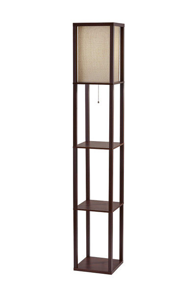 "10.25"" X 10.25"" X 63"" Walnut Fabric Shelf Lamp"