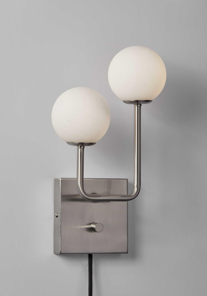 "8"" X 4"" X 13.5"" Brushed Steel Glass/Metal Wall Lamp"