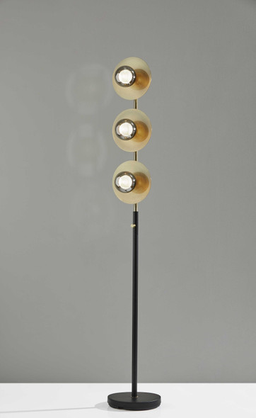 "10"" X 10"" X 64"" Black Metal LED Floor Lamp"