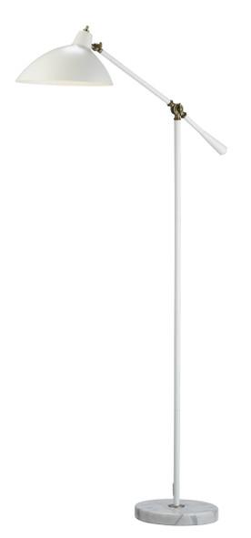 "10.5"" X 27.5-32"" X 52-59.5"" White Metal Floor Lamp"