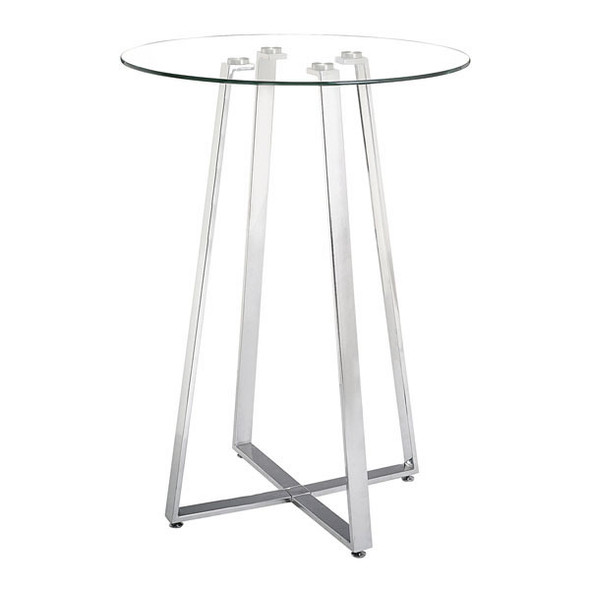 "35.4"" X 35.4"" X 41.9"" Brushed Aluminum Bar Table"