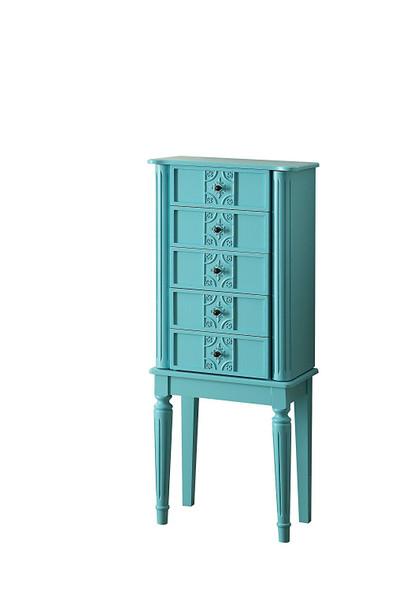 """16"""" X 10"""" X 40"""" Light Blue Mirror Jewelry Armoire"""