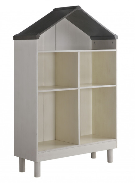 "13"" X 35"" X 56"" Weathered White Washed Gray Wood Bookcase"