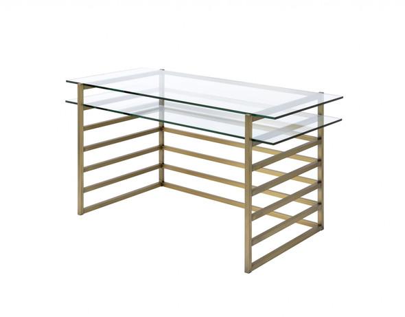 "28"" X 56"" X 31"" Antique Gold Clear Glass Metal Desk"