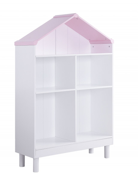 "13"" X 35"" X 56"" White Pink Wood Bookcase"