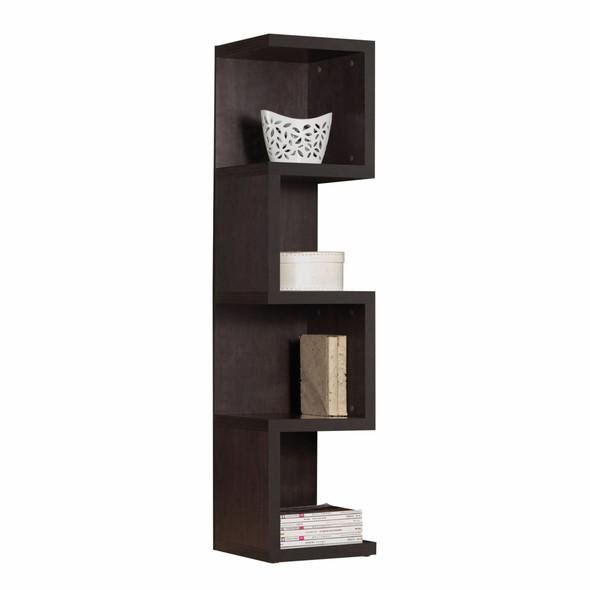 """14"""" X 14"""" X 59"""" Espresso Wood Veneer (PU Paper) Bookcase - Large S Shelf"""