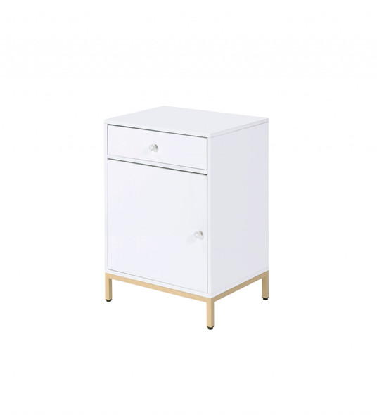 "16"" X 20"" X 30"" White High Gloss Gold Metal Wood Cabinet"