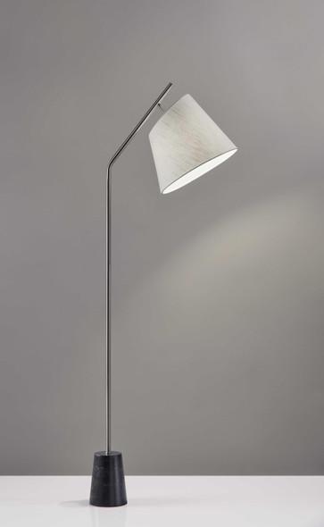 "12"" X 21.5"" X 58.5"" Brushed Steel Marble Floor Lamp"