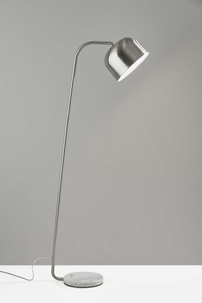 "10"" X 23"" X 60"" Brushed Steel Metal Floor Lamp"