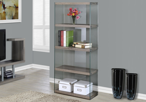 "60"" Particle Board and Clear Tempered Glass Bookcase"