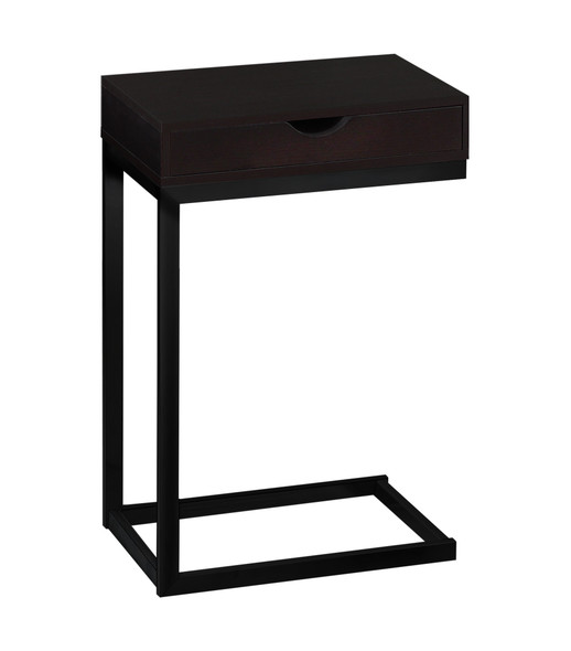 "10.25"" x 15.75"" x 24.5"" Cappuccino, Black, Particle Board, Metal - Accent Table"