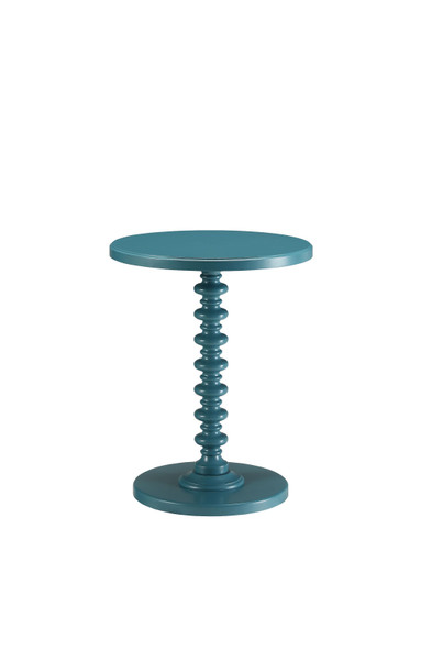 "17"" X 17"" X 22"" Teal Solid Wood Leg Side Table"