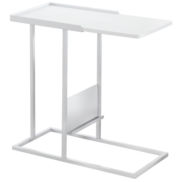 """23.75"""" x 12"""" x 23.75"""" White, Metal, Mdf - Accent Table with Magazine Rack"""