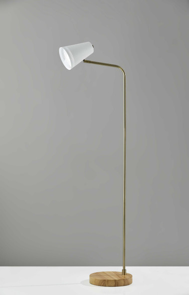 "10"" X 18"" X 55"" White Metal Floor Lamp"