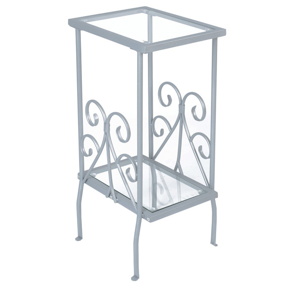 """12"""" x 16"""" x 30"""" Silver, Clear, Metal, Tempered Glass - Accent Table"""