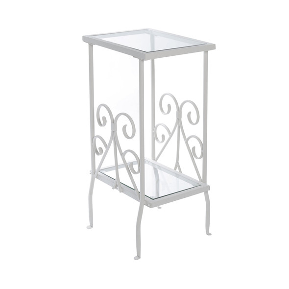 """12"""" x 16"""" x 30"""" White, Clear, Metal, Tempered Glass - Accent Table"""