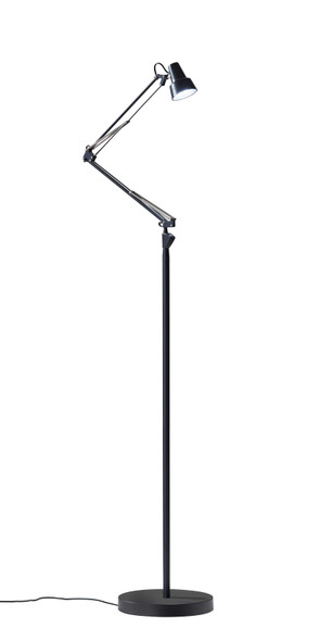 "10"" X 10""-31.5"" X 47""-64.5"" Black Metal LED Floor Lamp"