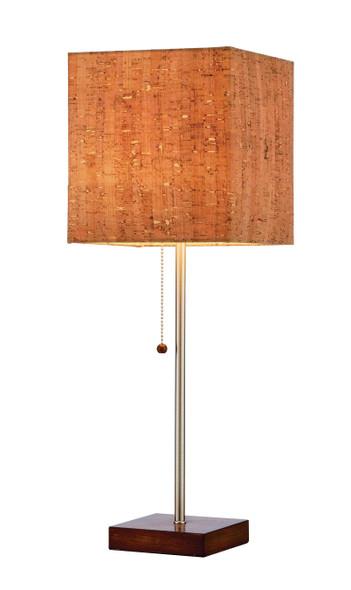 "7.5"" X 7.5"" X 21.5"" Walnut Shade Table Lamp"