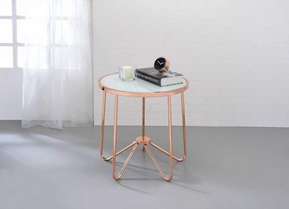 "22"" X 22"" X 22"" Frosted Glass And Rose Gold End Table"