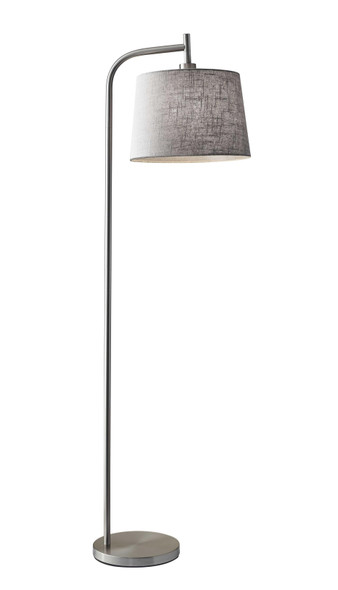 "13"" X 18"" X 58"" Brushed Steel Metal Floor Lamp"